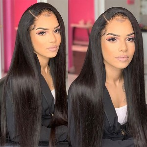 Eva Hair 13x6 Lace Front Human Hair Wigs Pre-Plucked Brazilian Remy Hair Bleached Knots 150% Density Straight With Baby Hair【W031】