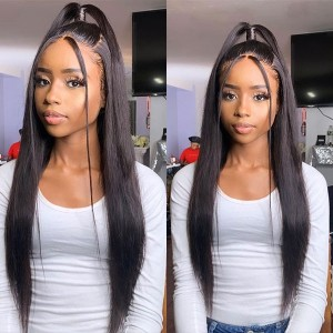 Eva Hair HD Lace Wig 130 Density 13x4 Brazilian Silky Straight Lace Front Human Hair Wigs Pre Plucked 【W089】