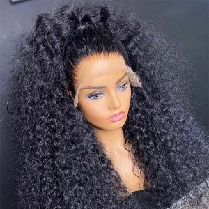 Eva 200% density 13x6 Curly Lace Front Human Hair Wigs For Women Black Brazilian Remy Hair Wigs Pre Plucked Bleached Knotes【W093】