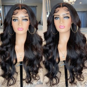 Eva Hair Glueless Pre Plucked 180 Density Brazilian Body Wave Remy Hair Bleached Knots 360 Lace Frontal Wig With Baby Hair【W034】