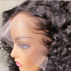 Eva Hair Pre Plucked 360 Lace Frontal Human Hair Wig Brazilian Curly Hair 180% Density With Baby Hair Bleached Knots【W100】