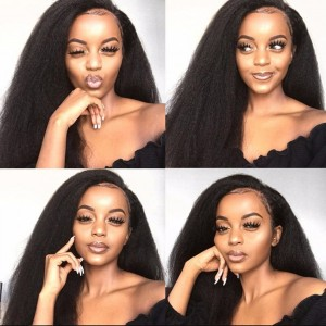 Eva Hair 150 Density Brazilian Kinky Straight 360 Lace Frontal Wig With Baby Hair【W113】