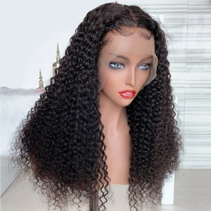 Eva Hair 130 Density 13x4 Deep Curly Lace Front Wigs Brazilian Remy Hair Pre Plucked Hairline【W102】
