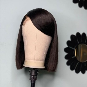 Eva Hair 130 Density 13X4 Brazilian Silky Straight  Lace Front Human Hair Bob Wigs Pre Plucked【W108】