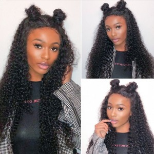 Eva Hair 150 Density 13X6 Brazilian Curly Lace Front Human Hair Wigs Pre Plucked (w131)