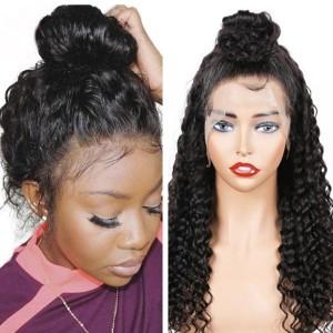 Eva Hair 2019 New 150 Density Brazilian Curly 370 Lace Wigs Pre Plucked【W140】
