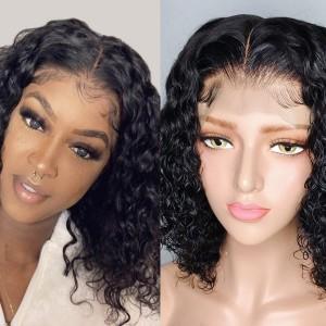 Eva Hair 2019 New 150 Density 370 Water Wave Lace Wigs Brazilian Short Human Hair Bob Wigs【W147】