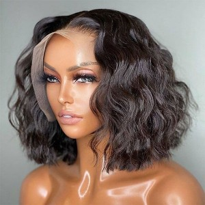 Eva Hair 13x6 Lace Front Human Hair Wigs Wavy Bob Pre-Plucked Brazilian Remy Hair Bleached Knots 150% Density With Baby Hair【W158】