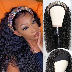 Eva Hair New Fashion 150 Density Headband Wig Brazilain Deep Wave Human Hair Wig【W164】