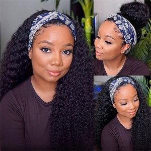 Eva Hair New Fashion 150 Density Headband Wig Brazilain Curly Human Hair Wig【W163】