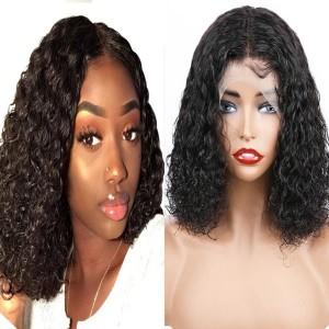 Eva Hair 130 Density 13X4 Brazilian Curly Lace Front Wigs Human Hair Bob Wigs【W173】