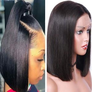 Eva Hair 250 Density 360 Lace Frontal Wig Brazilian Straight Human Hair Bob Wigs【W190】
