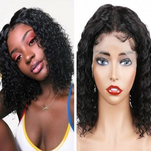 Eva Hair 150 Density Water Wave 370 Fake Scalp Wig Brazilian Short Human Hair Bob Wigs【W199】