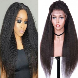 Eva Hair 150 Density Brazilian Kinky Straight 370 Fake Scalp Wig Bleached Knots Human Hair Wigs With Baby Hair【W210】