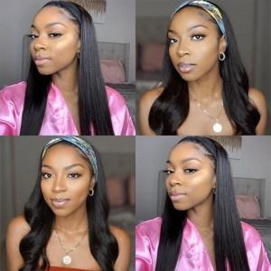 Eva Hair New Fashion 150 Density Headband Wig Brazilain Afro Straight Human Hair Wig【W255】