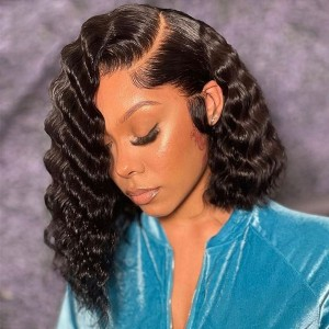 Eva Goddess Wave Pre Plucked Brazilian Remy Hair Bleached Knots 13x6  Lace Frontal Wig With Baby Hair Bleached Knots【W312】