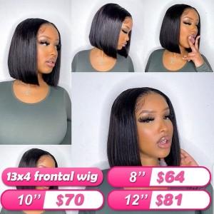 FlashSale!!!Eva 13X4 Brazilian Silky Straight  Lace Front Human Hair Bob Wigs Pre Plucked Human Hair【W315】