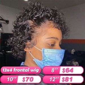 FlashSale!!!Goddess Wave 13X4 Brazilian Curly Lace Front Human Hair Bob Wigs Pre Plucked Human Hair【W321】