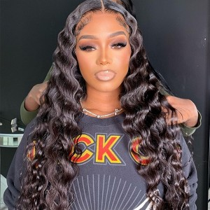 13x2 Lace Front Wig Deep Wave . 100% Human Hair 16 Inch-20 Inch Virgin Human Hair. pls confirm the wig cap before placing order in case any problems【W335】