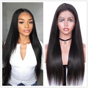 Eva Hair 250 Density Brazilian Straight 360 Lace Frontal Wig Pre Plucked (w93)