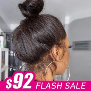 Flashsale Full Lace Human Hair Wig Straight Hair Bleached Knots Pre Plucked  Brazilian Remy Hair With Baby Hair FAFS【W043】