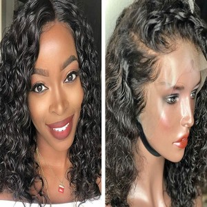 Eva Hair Pre Plucked 180% Density Curly Bob Brazilian Hair 360 Lace Frontal Human Hair Wig With Baby Hair Bleached Knots 【Y034】