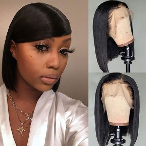 Eva Hair Pre Plucked Short Bob 13x6 Lace Human Hair  Wigs Brazilian Straight Hair With Baby Hair Bleached Knots 【W020】